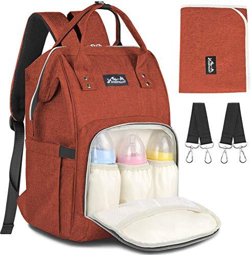 Baby Wickelrucksack Wickeltasche mit 2 Pcs Kinderwagen-haken, Viedouce Wasserdicht Oxford Große Kapazität, Babytasche für Ausgehen Reisen Einkaufen,Multifunktional Babytasche für Reise (Ziegelrot)