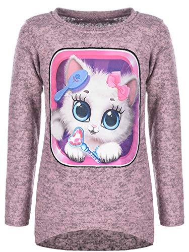 Kinder Mädchen Pullover Katzen Motiv LED Pulli Sweater Sweat Shirt 30223 Rosa 146
