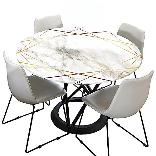 Morbuy Tischdecke Elastisch, 3D Marmor Drucken Rund Tischdecken Wasserdicht Lotuseffekt Abwaschbar Abwischbar Tischtuch für Dekoration Küchentisch Garten Outdoor (Weißes Gold,90cm)