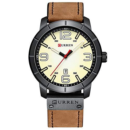 Reloj Hombres nuevos Reloj de Pulsera de Cuarzo con Correa de Cuero con Cara Verde Creativa Moda Deportiva Reloj de visualización de Fecha a Prueba de Agua