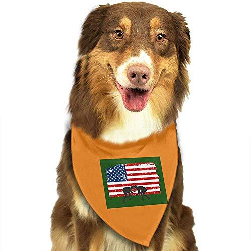 Strawberryran Amerikanische Flagge Wrestling Hund Katze Bandanas-1pc Waschbare Dreieck Lätzchen Halstücher Schal Halstuch