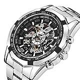 腕時計 メンズ 機械式時計 自動巻きファッションパンクメカニカルスケルトンダイヤルアナログ腕時計ステンレススチールブレスレット (シルバー)
