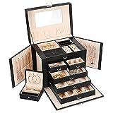Gifort Caja Joyero Extra Grande con un Mini Joyero de Viaje, Organizador Joyas con Espejo y 5 Capas para Anillos Collares Pendientes, Ideas Regalo Mujer Niña, Negro