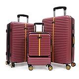Maletas rígidas Juego de Maletas de Viaje Ligeras 3 Pzs.Set Trolley ABS 4 Ruedas(Cabina + Mediana + Grande) Rígidasy Resistentes,Traje Rojo