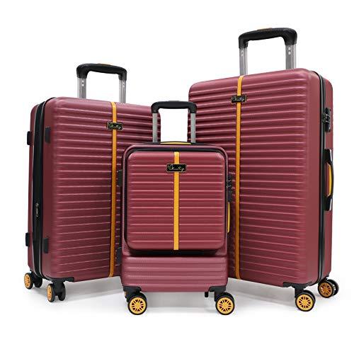 Set bagagli a 3 pezzi, valigia rotolante da viaggio hardside con serratura TSA, bagagli spinner hardshell in posizione verticale con maniglia telescopica 20/24/28 (SET, Winered)