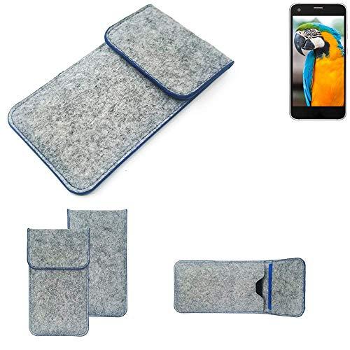 K-S-Trade® Handy Schutz Hülle Für Vestel V3 5040 Schutzhülle Handyhülle Filztasche Pouch Tasche Case Sleeve Filzhülle Hellgrau, Blauer Rand
