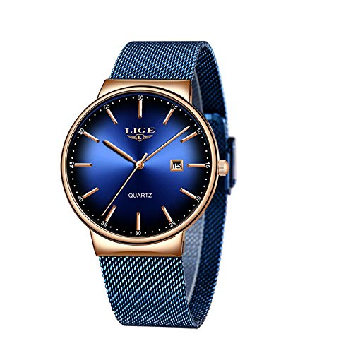 LIGE Uhr-Herren,Mode Chronographen,Edelstahl Wasserdich, Schwarze Quartz Milanaise Mesh Armband… (Blau)