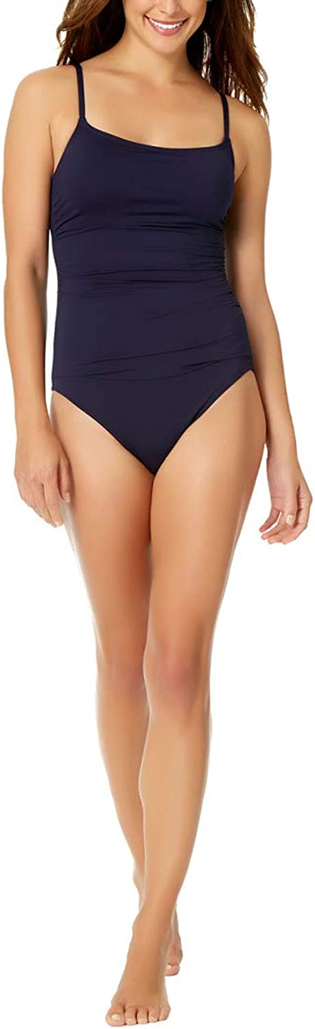 Anne Cole New Navy Shirred Lingerie Maillot