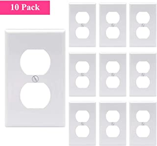 [UL Listed] VCE 1-Gang Standard Size Duplex Decorative Home Electrical Outlet Cover Wall Plate for Switch Power, Socket -White 10 Pack Dual Port Replacement Receptacle Faceplates Covers