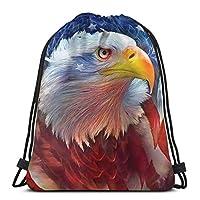 ハッピーイースター巾着袋、子供用イーグルレッドホワイトブルートートバックパックサックパックジムスイミンググローブ収納バッグ用ジムサックバッグ