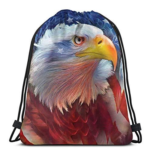 QUEMIN Frohe Ostern Kordelzug, Eagle Red White Blue Tote Rucksack Sackpack für Kinder Gym Sack Bag für Gym Schwimmhandschuhe Aufbewahrungstasche