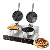 Dyna-Living Waffle Maker Electric Waffle Iron Cone Machine 110V Stainless Steel Non-stick Double Head Waffle Furnace Suitable for Bakery, Restaurant, Snack Bar or Household