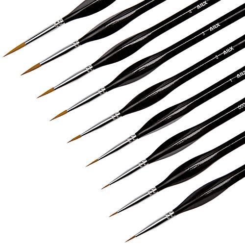 AIEX 9 Pieces Fine Detail Paint Brush Miniature Painting Brushes