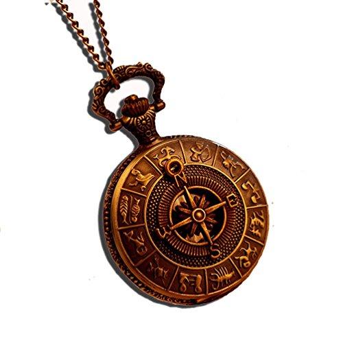 Fenkoo Das alte Rom Kompass Muster Quarz Analog Vintage antiken Karte Taschenuhren Uhr Herren 78cm Kette steampunk