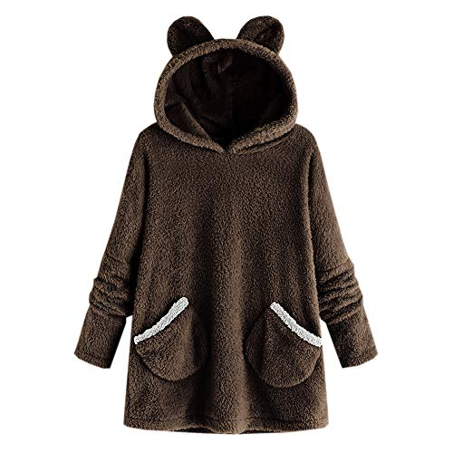 FRAUIT dames mode kat oor hoed met capuchon jas pluizige wollen mantel