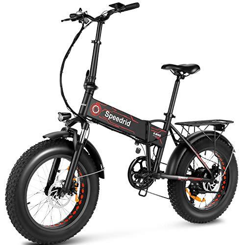 Speedrid Bici elettrica pieghevoli, 20'' X 4.0'' pneumatico pieghevoli bici elettrica, 350W bici elettriche 48V/10Ah batteria Ebike per adulti con display LCD