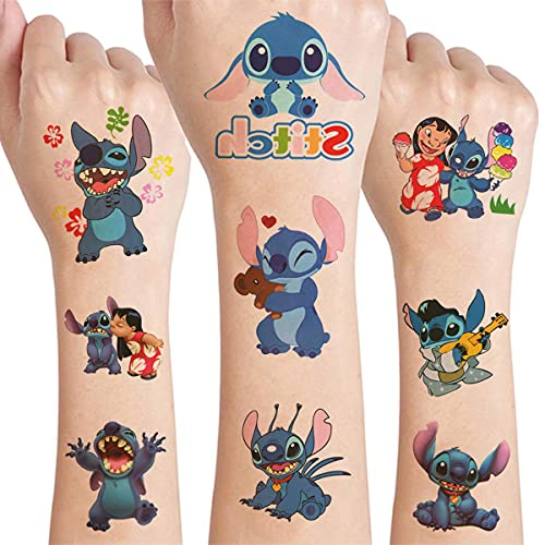 12 Sheets Cute Temporary Tattoos for Kids, Lilo and Stitch Birthday Party Supplies Favors Fake Tattoos Anime Cartoon Stickers for Kids Boys Birthday Decorations Water Bottle Decor School Rewards