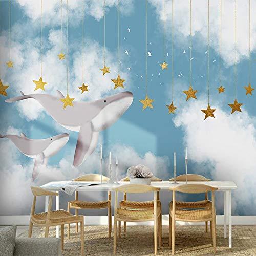 BHXIAOBAOZI Eigen 4D muurschildering groot wallpaper, walvis en gouden sterren vliegen in de hemel, moderne Hd zijde muurschilderij poster afbeelding TV sofa achtergrond muur decoratie voor woonkamer 300cm(W)×200cm(H)|9.84×6.56 ft