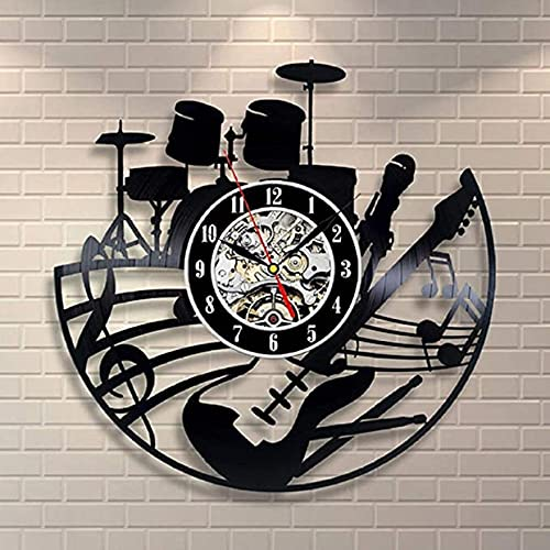 SHILLPS Reloj de Pared de Banda de Rock Diseño Moderno para Sala de Estar Tema Musical Relojes de Registro de Vinilo Reloj de Pared Colgante Decoración para el hogar Silent12 Pulgadas NO LED