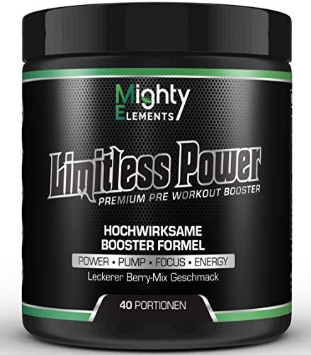 Limitless Power - Pre Workout Booster, 40 Portionen, L-Citrullin, L-Arginin, CDP-Cholin Citicolin, Beta-Alanin, Guarana, BCAA 2:1:1, Pump Booster, Fokus, kein Crash-Down, hochdosiert Mighty Elements