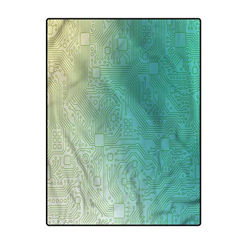 Abstract Pattern Rugs for Bedroom, Living Room, and Kitchen Tech Vector Pattern 4 x 6 Ft