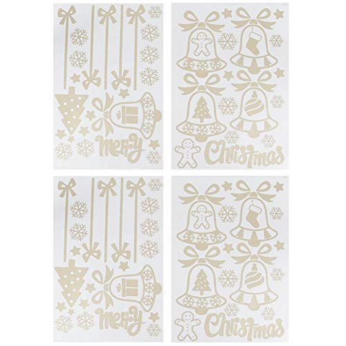 Calcomanía navideña - 2 juegos de pegatinas autoadhesivas decorativas navideñas de PVC, calcomanías de copo de nieve de campana para ventana, puerta, vidrio, escaparate de tienda