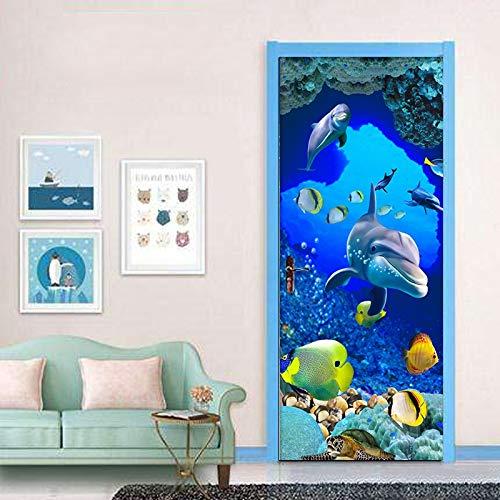 Mural Para Puerta 3D Dolphin Niños Sala De Estar Creativa Dormitorio Desmontable Autoadhesivo Papel Pintado Puertas 77 X 200 cm