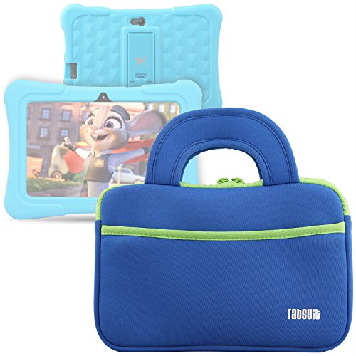 TabSuit 7' Tablet Sleeve Bag Compatible for Dragon Touch Y88X Pro/Y88X/M7 Kids Tablet, MatrixPad S7, Z1 Kids Tablet, iPad Mini 4 3 2 1, Galaxy Tab A 8.0 with Accessory Pocket- Blue