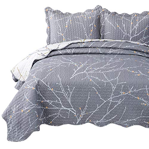 Bedsure Quilt Set King Size(106x96 inches) - Tree Branch Floral Pattern - Lightweight Microfiber Bedspread Coverlet Quilt for Spring and Summer, 1 Quilt and 2 Pillow Shams - Grey/Ivory