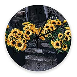 YESOF66 12 inch Round Wooden Wall Clock, Stylish Silent Non-Ticking Battery Operated Clock, Florist and Sunflower Wall Decor for The Kitchen, Living Room, Bedroom, or Office
