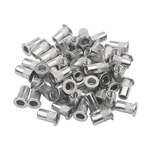 Flachkopf-Blindnietmuttern aus Aluminium, Einpressmuttern, 100 Stück