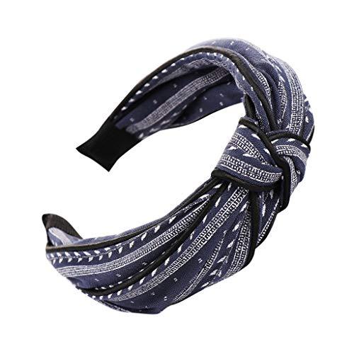 YWLINK Mode Knoten Haarband Frauen Kopfband Süß MäDchen Klassisch Breit Waschen Haarband (A Marine, Einheitsgröße)