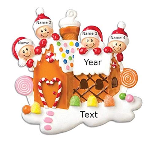 Baykoz Personalized Christmas Tree Ornament Gingerbread House Family of 4 - Our Sweet Home - Family Kids Candy-Cane Ice Cream - Holiday Tradition 2020 - Free Customization (Family of 4)