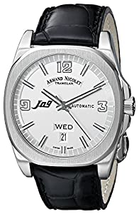 Armand Nicolet Men's 9650A-AG-P965NR2 J09 Stainless Steel Automatic Watch with Black Leather Band