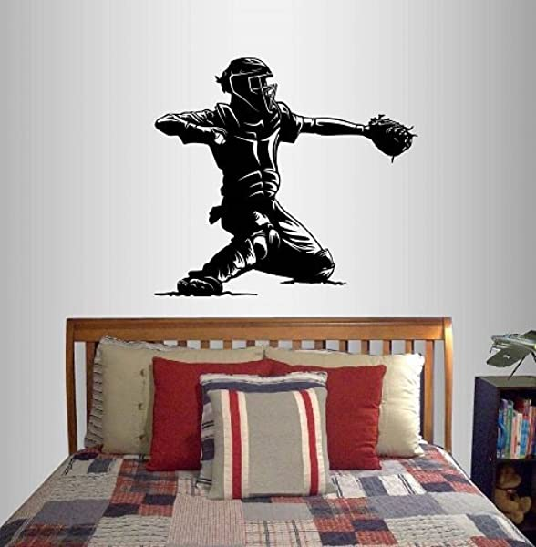 Wall Vinyl Decal Home Decor Art Sticker Baseball Catcher Player Sports Boy Teen Bedroom Room Removable Stylish Mural Unique Design
