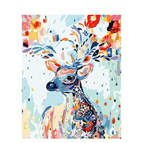 nobrand Farbe Hirsche Tiere DIY Öl Gemälde Nach Zahlen Moderne Wandkunst Handgemaltes Acryl Bild Nach Zahlen Home Decor