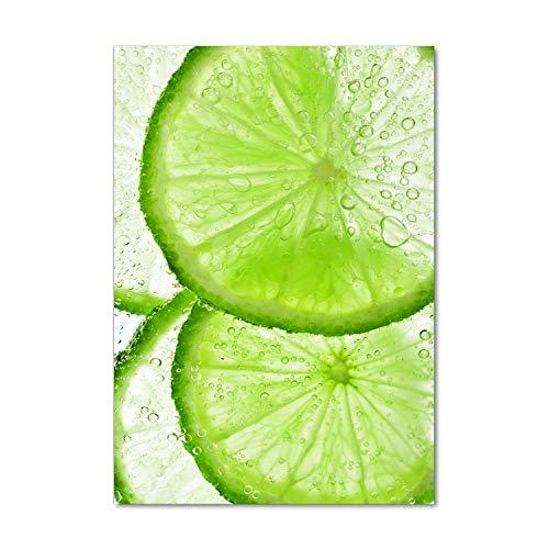 Tulup Impresión en Vidrio - 70x100cm - Cuadro sobre Vidrio - Pinturas en Vidrio - Cuadro en Vidrio - Impresiones sobre Vidrio - Cuadro de Cristal - Comidas Y Bebidas - Verde - Lime Bajo El Agua