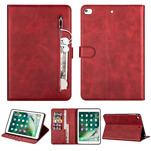 TWBOCV iPad Mini 4 7.9'' Case, Folio Stand Smart Case Auto Wake Sleep Cover with Card Slot Wallet Case for (7.9 inch iPad Mini 5 4 3 2 1,Red)