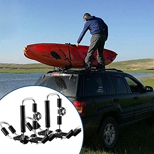 KOSIEJINN Porta Kayak per Auto, 2 Pezzi Porta Canoa per Auto, 4 in 1 Portapacchi Kayak, Pieghevole Montaggio su Tetto Bilaterale Strumento Trasporto Universale Auto Traversa per Camion SUV Canoa
