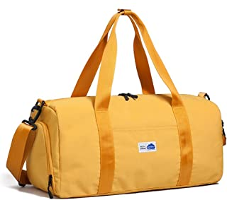 Sports Gym Bag,Holdall Travel Duffle Bag With Shoes Compartment (Color : Yellow)