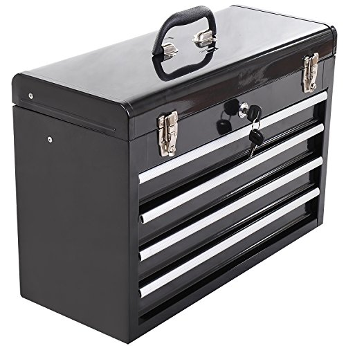 HOMCOM Portable Toolbox Tool Chest Box Cabinet Garage Storage Set with 4 Drawers Metal