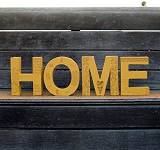 Palabra decorativa HOME para el DÍA DE LA MADRE y DÍA DEL PADRE formada por letras decoradas y pintadas en color mostaza. ...