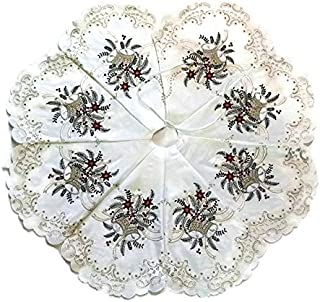 Doily Boutique Christmas Tree Skirt with Silver Bells on Bleached White Fabric 36 inches Handmade