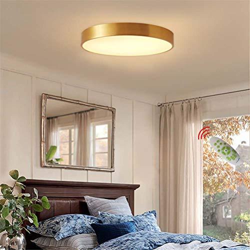 Lámpara de Techo LED de 27W con Control Remoto Regulable, Cuerpo de Lámpara de Bronce Lámpara de Dormitorio Moderna Lámpara de Cocina, Decoración de Sala de Estar Luz de Techo Balcón Luces de Pasillo