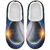 Linomo Zapatillas de béisbol para mujer con diseño de pelota de deporte, para la casa, para el hogar, para el dormitorio, zapatos, multicolor, 41/42 EU