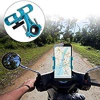 バッファー振動ダブルグリップアルミニウム合金スイベルスクリュー自転車電話ホルダー高硬度、バイク用(Non-rotatable blue)
