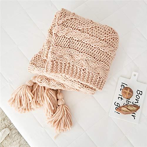 RAQ spreien zachte dekens ambachtelijke deken bank deken met de hand gebreide deken met kwast voor kantoor huis 49