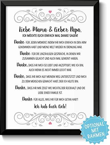 Danksagung Mama und Papa Bild optional mit Holz-Rahmen und Namen personalisiert Geschenk Geschenkidee Muttertag Vatertag Mama Papa