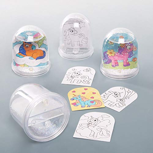 Baker Ross Kits de Boule à Neige Licorne à colorier (boîte de 4) - Loisirs créatifs pour Enfants, AT316