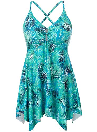 Women Floral Tummy Control Swimwear with Boyshorts Two Piece Bathing Suit 24W Turquoise